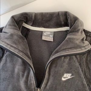 Nike Velour Track Jacket Zip Up Gray Sz M GUC
